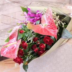 花束「アンスリウムの花束」