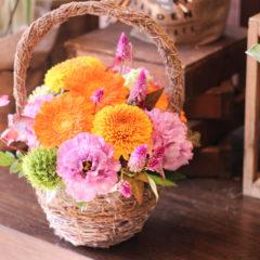 アレンジメント「秋の花かご」